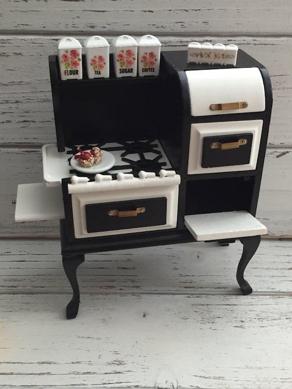 Miniature Stove, 1920's Black and White Stove, Dollhouse Miniature, 1:12 Scale Miniature, Dollhouse Kitchen, Kitchen Stove, Mini Stove