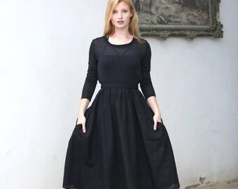 Fully lined black midi skirt with pockets / High waist velvet skirt / Devoré print / burnout print