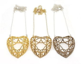 Faceted Heart Necklace // 3D Printed Geometric Contemporary Jewelry // LanaBetty // Brass Steel Gold