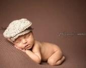 "Ready to Ship, Crochet Newborn ""Dapper"" Baby Boy Newsboy Hat, Photo Prop, Photography Prop, Baby Shower Gift, Golf Hat, Paper Boy hat"
