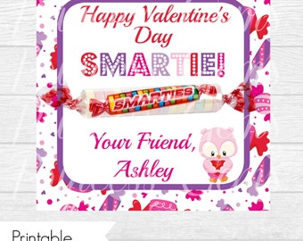 Smartie Owl Valentines Day card - Girls - Printable