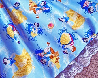 Snow White Magical Blue Skirt WITH LACE for Girls Toddler to Pre-Teen Custom Size