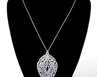 Silver Filigree Pendant Necklace -- Filigree Metal Pendant -- Silver Stamp Necklace -- Silver Shield Necklace -- Silver Layering Necklace