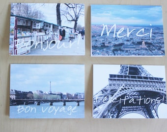 Paris photo sayings note cards // Greetings from Paris note cards