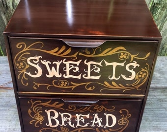 bread box upcycled retro metal double door distressed caramel and brown with scroll work hand painted around lettering sweets and bread