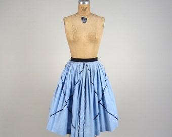 1950s diamond ric rac skirt • vintage 50s skirt • cotton summer skirt