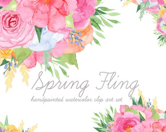 Spring Fling:  Floral Clip Art, Watercolor Flower Clip Art, Spring Clipart, Floral Elements