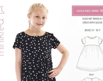 Minikrea 50011 Dress with Sleeve Sewing Pattern for Kids 0-10 Years