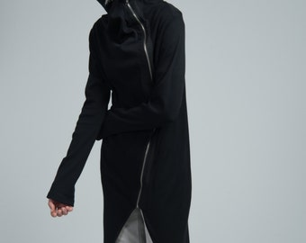 Spring Jacket / Asymmetric Jacket / Long Jacket / Black Zipped Jacket / Summer Jacket / marcellamoda - MC651