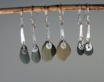 Beach stone and recycled metal tab with spiral dangle