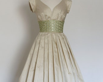 Champagne Silk Dupion and Pale Apple Lace Prom Dress - Made by Dig For Victory