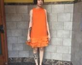 1960s Orange Mini Ruffle Dress