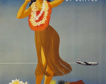 """Reproduction Vintage Pan American Travel Poster of """"Hawaii by Clipper """" c1948 - 11x17"""