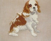 Small Spaniel Needlepoint Preworked Canvas, Vintage Monica Imports 18 x 18 inches