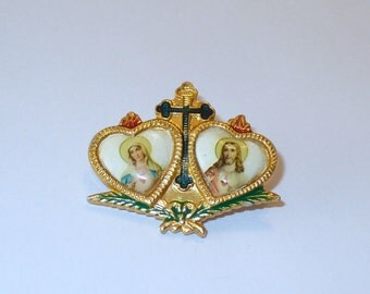Vintage Immaculate Heart of Mary, Sacred Heart of Jesus Flaming Heart Brooch