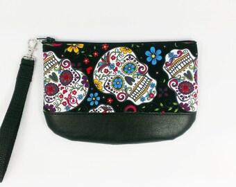 Sugar Skull Wristlet Day of the Dead Purse Dia De Los Muertos Wrist Wallet Clutch Accessory Bag Small Purse Gift Black Zipper Calavera Woman