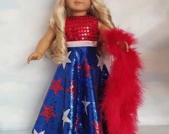 18 inch doll clothes - #209 USA Sequin Gown handmade to fit the American girl doll - FREE SHIPPING