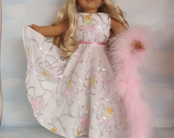18 inch doll clothes - #276 Pastel Embroidered Gown made to fit the American Girl Doll  - FREE SHIPPING          l