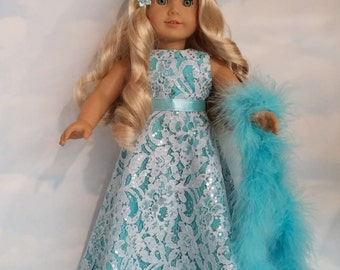 18 inch doll clothes - #226 - Aqua Lace Gown handmade to fit the American Girl Doll