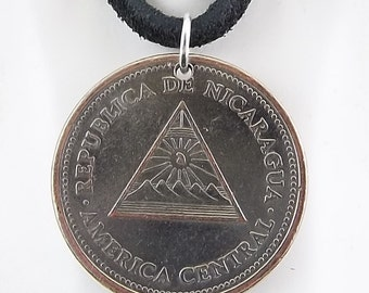 Nicaragua Coin Necklace, 1 Cordoba, Mens Necklace, Womens Necklace, Coin Pendant, Leather Cord, Birth Year, 2000