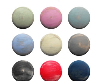 Distressed Wood Knob - Children's Custom Hand Painted ANY Color Shabby Chic Distressed Wood Drawer Knobs Pulls or Nail Covers for Kids