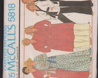 McCall's 5818 Misses' and Men's Robe or Wrap Jacket and Pants Carefree™  Patterns from McCall's Quick and Easy