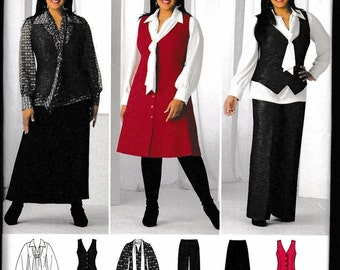 Simplicity 2566 Misses'/Women's Pants, Skirt, Blouse with Tie and Jumper or Vest Khaliah Ali Collection