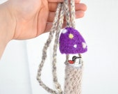 Purple Felted Mushroom Stash Pocket Necklace