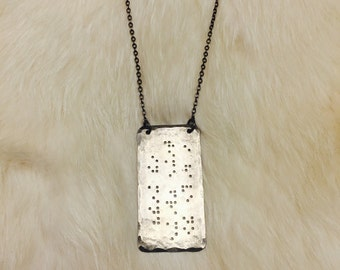 CUSTOM BRAILLE PLAQUE : Personalized Braille Necklace Custom Engraved Jewelry