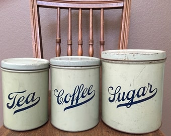 Antique Vintage and Very Rare Primitive Kitchen Green Storage Tin.  Sugar, Coffee, and Tea Bin.  Set of 3 Canister Set.  1910-1920s.