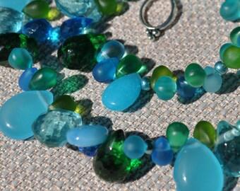 Island Paradise Blue Greenery Aqua Briolette Necklace