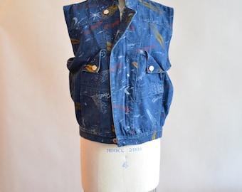 Vintage 1980s AVANTE GARDE comet print denim vest