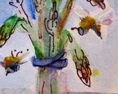 Aceo Asparagus with bees miniature original watercolor painting Art by Delilah