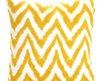 SALE Yellow Chevron Pillow Covers Decorative Throw Pillow Cushions Corn Yellow White Diva Chevron Zig Zag Bed, One or More ALL SIZES