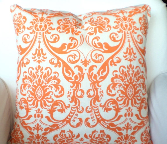 Orange Decorative Bed Pillows : Orange Decorative Throw Pillow Covers by FabricJunkie1640 on Etsy