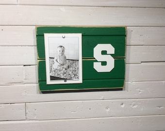 "Michigan State University MSU Spartans S picture frame holds 4""x6"", decor"