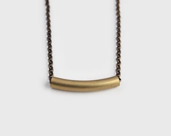 Long Brass Bar Necklace - 30 inch