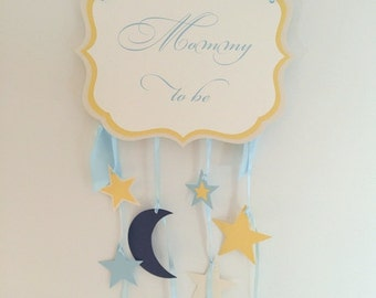 Twinkle, Twinkle Little Star Mommy to be Chair Sign Baby Shower Decoration with Stars and Crescent Moon