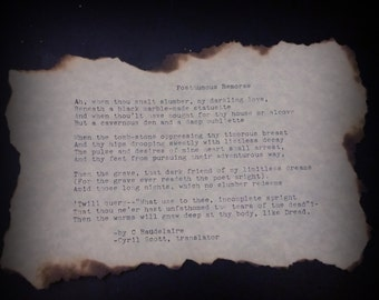 Posthumous Remorse by C Baudelaire, typewritten poem