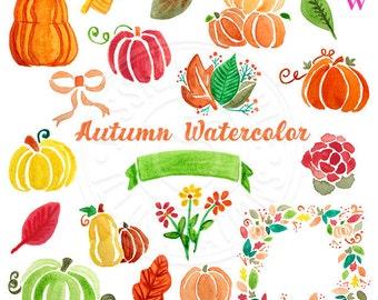 Autumn Watercolor Clipart, Digital Watercolor Autumn Clip Art, Pumpkin Watercolour Clip Art, Hand Painted Seasonal Fall Watercolor Elements