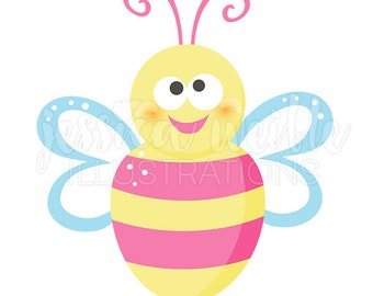 Happy Pink Bumble Bee Cute Digital Clipart, Bumble Bee Clip art, Spring Bee Graphics, Girls Pink Bumble Bee Illustration, #1593