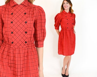 80s Red Plaid Dress | Plaid Print Secretary Day Dress | Medium