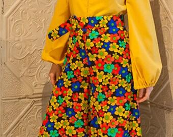 Vintage Yellow & Bright Floral Jumpsuit // 1970s