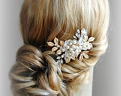 Gold Leaves Hair Clip, Wedding Head Piece with Pearls, Crystals, Boho Bridal Fascinator, Silver, Rose Gold - ROMA