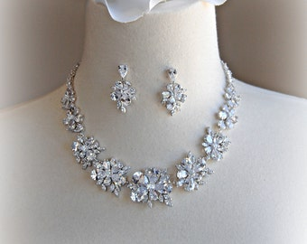 Cubic Zirconia Necklace and Earrings Bridal Set, Vintage Style Choker Necklace, Crystal Wedding Jewelry Set - DAHLIA