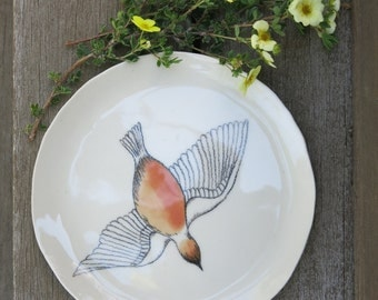 Ceramic Woodland Flying Bird Hand Drawn Fine Art Plate One of a Kind Gift Idea Home Decor, Handmade Artisan Pottery by Licia Lucas Pfadt