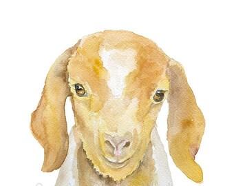 Nubian Goat Watercolor Painting - 5 x 7 - Giclee Print - Farm Animal Farmhouse Art Nursery Wall Art