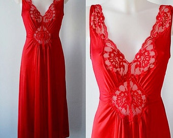 Vintage Nightgown, Vintage Nightgowns, 1980s Nightgown, 1980s Vanity Fair, Vanity Fair, Red Nightgown, Vintage Lingerie