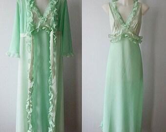 Vintage Peignoir Set, Vintage Green Peignoir Set, Silfra, 1970s Peignoir Set, Vintage Peignoir, Peignoir Set, Nightgown Robe Set, Peignoir