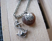 Anchor necklace | sterling silver | sand dollar | sea glass | nautical
